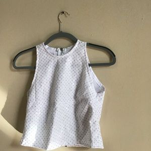 Tops - White sleeveless top w/ gold accents